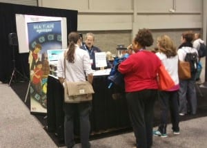 FETC attendees getting hands on demos of Dig-It! Games in the Education Arcade