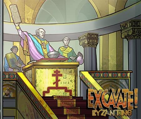 History scene from social studies game Excavate! Byzantine
